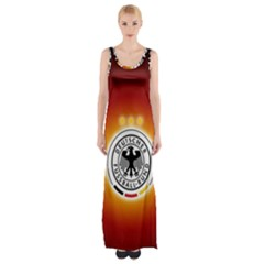 Deutschland Logos Football Not Soccer Germany National Team Nationalmannschaft Maxi Thigh Split Dress