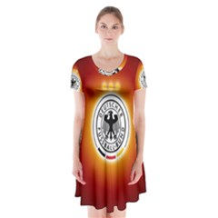 Deutschland Logos Football Not Soccer Germany National Team Nationalmannschaft Short Sleeve V Neck Flare Dress