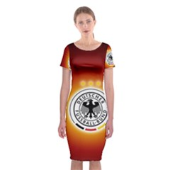 Deutschland Logos Football Not Soccer Germany National Team Nationalmannschaft Classic Short Sleeve Midi Dress