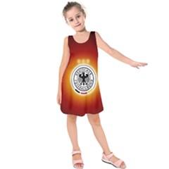 Deutschland Logos Football Not Soccer Germany National Team Nationalmannschaft Kids  Sleeveless Dress