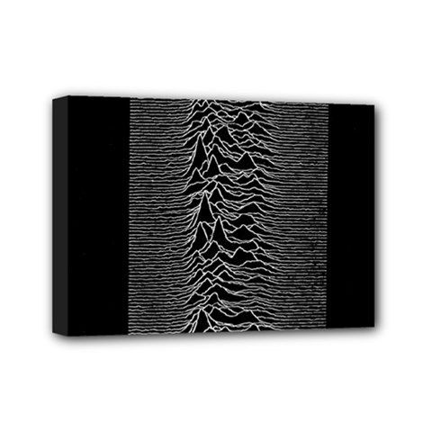 Grayscale Joy Division Graph Unknown Pleasures Mini Canvas 7  X 5