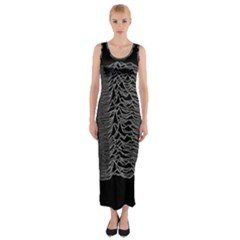 Grayscale Joy Division Graph Unknown Pleasures Fitted Maxi Dress