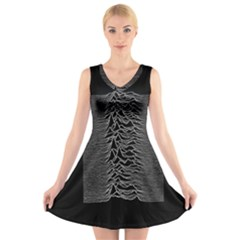 Grayscale Joy Division Graph Unknown Pleasures V Neck Sleeveless Skater Dress