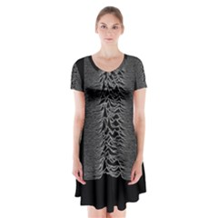 Grayscale Joy Division Graph Unknown Pleasures Short Sleeve V-neck Flare Dress