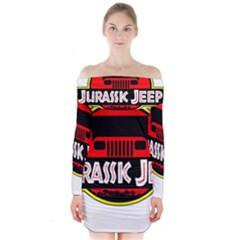 Jurassic Jeep Park Long Sleeve Off Shoulder Dress