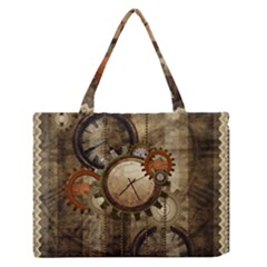 Wonderful Steampunk Design With Clocks And Gears Medium Zipper Tote Bag