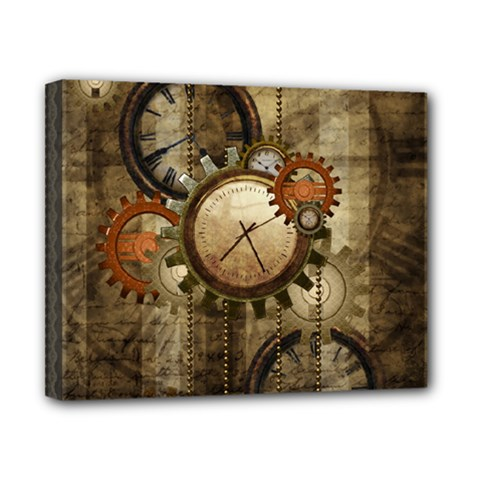 Wonderful Steampunk Design With Clocks And Gears Canvas 10  X 8