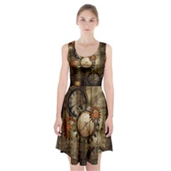 Wonderful Steampunk Design With Clocks And Gears Racerback Midi Dress