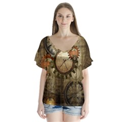Wonderful Steampunk Design With Clocks And Gears Flutter Sleeve Top
