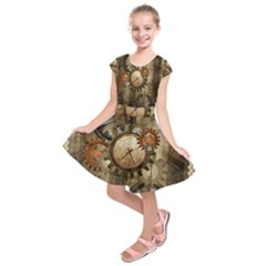 Wonderful Steampunk Design With Clocks And Gears Kids  Short Sleeve Dress