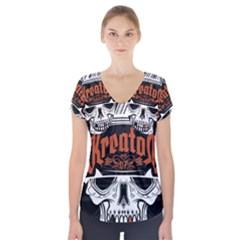 Kreator Thrash Metal Heavy Hard Rock Skull Skulls Short Sleeve Front Detail Top