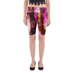 Abstract Background Design Squares Yoga Cropped Leggings