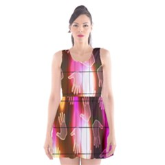 Abstract Background Design Squares Scoop Neck Skater Dress