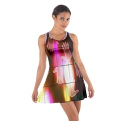 Abstract Background Design Squares Cotton Racerback Dress