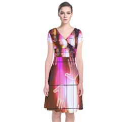 Abstract Background Design Squares Short Sleeve Front Wrap Dress