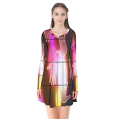 Abstract Background Design Squares Flare Dress