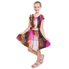 Abstract Background Design Squares Kids  Short Sleeve Dress