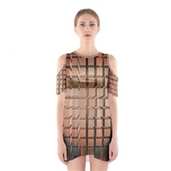 Abstract Texture Background Pattern Cutout Shoulder Dress