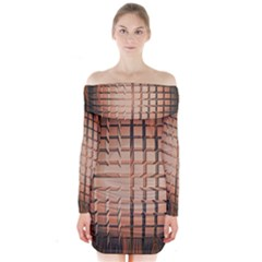 Abstract Texture Background Pattern Long Sleeve Off Shoulder Dress