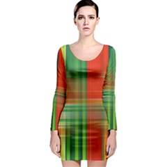 Background Texture Structure Green Long Sleeve Bodycon Dress