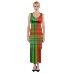 Background Texture Structure Green Fitted Maxi Dress