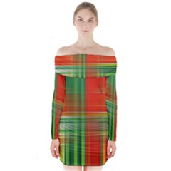 Background Texture Structure Green Long Sleeve Off Shoulder Dress