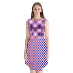 Blue Red Checkered Sleeveless Chiffon Dress