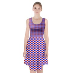Blue Red Checkered Racerback Midi Dress