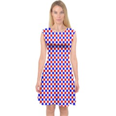 Blue Red Checkered Capsleeve Midi Dress