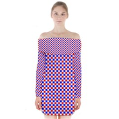 Blue Red Checkered Long Sleeve Off Shoulder Dress