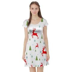 Christmas Pattern Short Sleeve Skater Dress