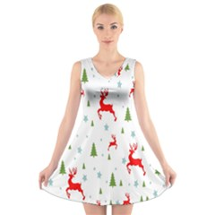 Christmas Pattern V-Neck Sleeveless Skater Dress