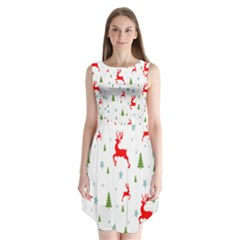 Christmas Pattern Sleeveless Chiffon Dress