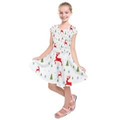 Christmas Pattern Kids  Short Sleeve Dress
