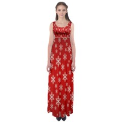 Christmas Snow Flake Pattern Empire Waist Maxi Dress