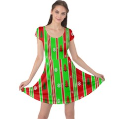 Christmas Paper Pattern Cap Sleeve Dresses