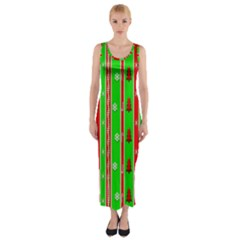 Christmas Paper Pattern Fitted Maxi Dress