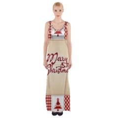 Christmas Patterns Pattern Maxi Thigh Split Dress