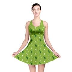 Green Christmas Tree Background  Reversible Skater Dress