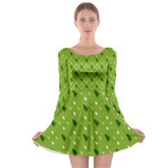 Green Christmas Tree Background  Long Sleeve Skater Dress