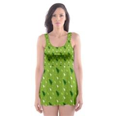 Green Christmas Tree Background  Skater Dress Swimsuit