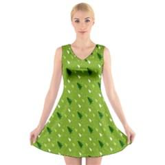 Green Christmas Tree Background  V-Neck Sleeveless Skater Dress