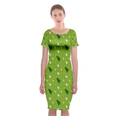 Green Christmas Tree Background  Classic Short Sleeve Midi Dress