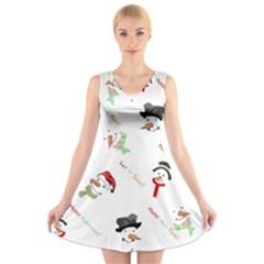 Snowman Christmas Pattern V-Neck Sleeveless Skater Dress