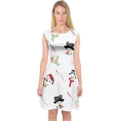 Snowman Christmas Pattern Capsleeve Midi Dress