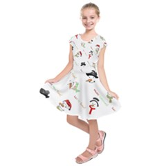 Snowman Christmas Pattern Kids  Short Sleeve Dress