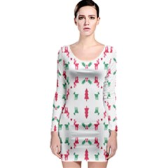 Reindeer Pattern Long Sleeve Bodycon Dress