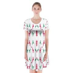Reindeer Pattern Short Sleeve V-neck Flare Dress