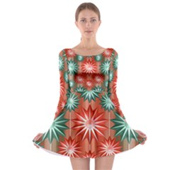 Star Pattern Long Sleeve Skater Dress