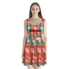 Star Pattern Split Back Mini Dress